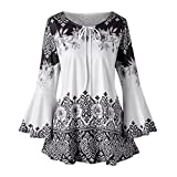 #4: vermers Clearance Fashion Plus Size Clothing for Women Womens Printed Flare Sleeve Tops Blouses Keyhole T-Shirts