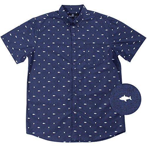 Molokai Mens Printed Short Sleeve Button Down Hawaiian Shirt (Large, Navy Shark) (Cheap Mexican Ponchos)