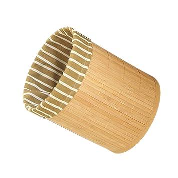 Baoblaze Faltbar Mulleimer Bambus Rund Papierkorb Holz Abfalleimer