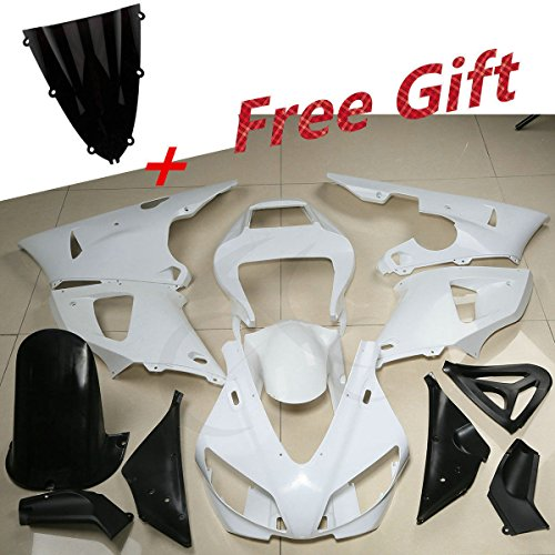 (XFMT Motorcycle White Unpainted ABS Plastic Fairing Cowl Bodywork Set Compatible with YAMAHA YZF R1 YZF-R1 1998)