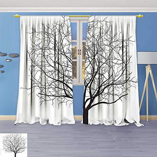 Rustic Home Decor Curtains,an Old Withered Oak Crown Without Leafs Tree Branches Illustration Black and White,Living Room Bedroom Window Drapes 2 Panel Set