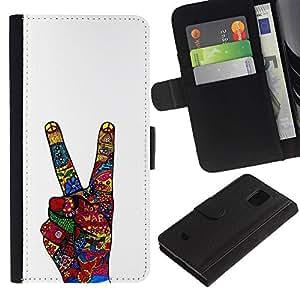 KingStore / Leather Etui en cuir / Samsung Galaxy S5 Mini, SM-G800 / La victoria Gesto de mano blanca abstracta;