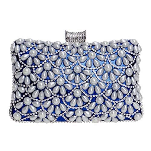 Evening Events Annual Be Wristlets Rhinestones For Banquets Dress Parties Bag Pearl Used Can Banquet Women Ladies Blue Nightclubs Cocktail Clutch qSgII4