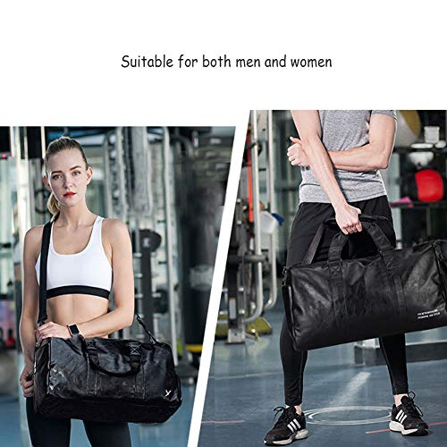 Large Imitation Camping Duffle Gym Travel Black Sports Men Overnight Weekend Leather Vintage Bag With 49x28x27cm amp;women Compartment Shoe 0Yqw75FU