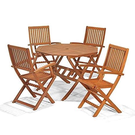 Set de muebles de jardín con mesa y 4 sillas plegables ...
