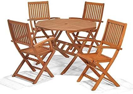 Set de muebles de jardín con mesa y 4 sillas plegables, madera de eucalipto con certificado FSC; ideal para exteriores: Amazon.es: Jardín