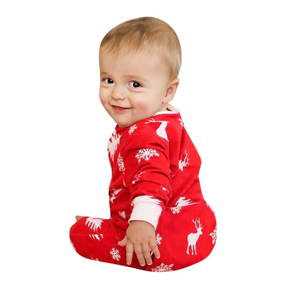 Baby Boy Girl Bodysuits - Saihui Toddler Infant Unisex Long Sleeves Christmas Snowflake Deer Printed Romper Pajamas Sleepwear Suit for 6-24Months