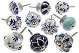 Zoya's 14 Mied Blue Shabby Chic Ceramic Cupboard Knobs Drawer Pull Kitchen K-203E