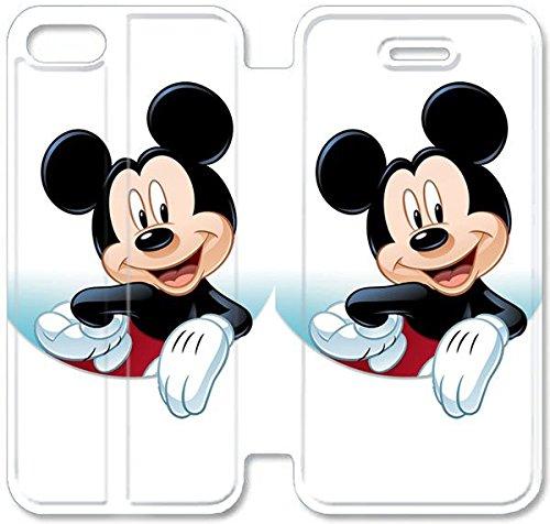 Flip étui en cuir PU Stand pour Coque iPhone 5 5S, bricolage 5 5S cas de téléphone portable Disney Mickey Mouse Minnie Mouse F3V4WJ Coque iPhone étuis en cuir claires
