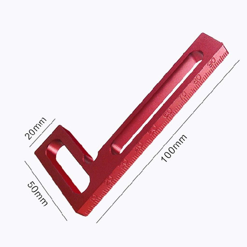 regla cuadrada en L Regla de carpinter/ía en /ángulo recto herramientas de medici/ón de alta precisi/ón de 100 mm mini cuadrada de aluminio