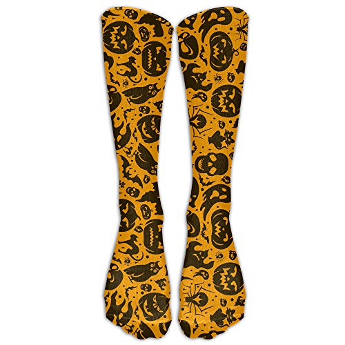 HFXFM's Halloween Pumpkin Devil Skull Sports Athletic Socks With Knee High Running Long Sock (Halloween Pumpkin F Off)