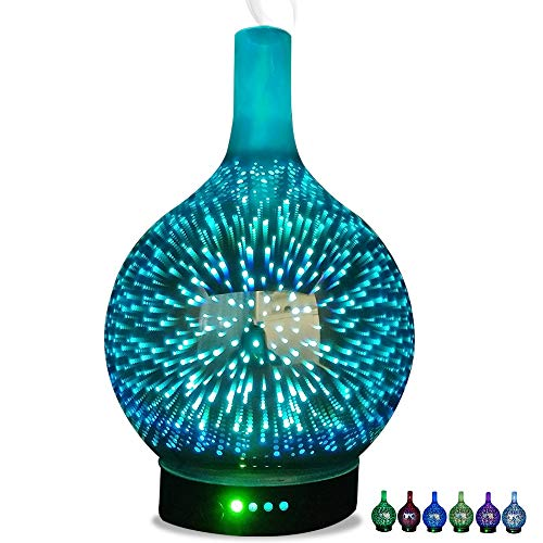 Latest Smart Light Therapy Glasses Starburst Diffusers for Essential Oils, Waterless auto Shut Off Aromatherapy Diffuser 3D Vaporizer with Changing led Lights Ultrasonic Cool Mist humidifiers for Home Yoga Baby-A W14xH26cm(6x10inch) 2019