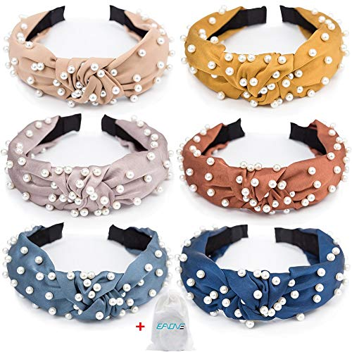 EAONE Pearl Headbands Knotted Headbands for Women 6 Colors, Knot Turban Headband Fashion Hair Bands Wide Headbands Hair Accessories for Girls with 1 Pouch Bag (Best Hair Colour For Womens)