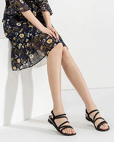 Nero Sandali donna da a casual Sandali tacco con alti moda piatti alla Sandali 39 basso basso estivi DHG Pantofole tacco Tacchi xqHwfAvf