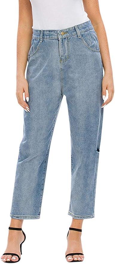Mrtom Vaqueros Mujer Pantalones Anchos De La Pierna Denim Rotos Jeans Elasticos Cintura Alta Push Up Pantalones Largos Rectos Straight Slim Fit Amazon Es Ropa Y Accesorios
