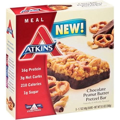 Atkins Meal Bar, Chocolate Peanut Butter Pretzel, 5 Count (Pack of 2)