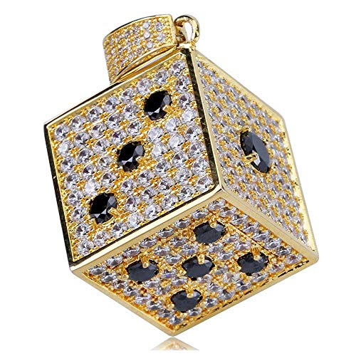 Gold 14k Dice (TOPGRILLZ 14K Gold Plated Iced Out CZ Simulated Diamond 3D Crap Dice Pendant Necklace for Men Fashion Jewelry (Gold Crap))