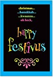 B1254 Box Set of 12 Festivus Oh Heck Funny Christmas Paper Cards with Envelopes - Parody Holiday Seinfeld