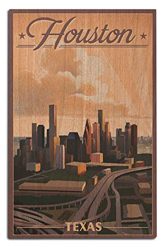 Framed Houston Lithograph (Lantern Press Houston, Texas - Lithograph (12x18 Wood Wall Sign, Wall Decor Ready to Hang))