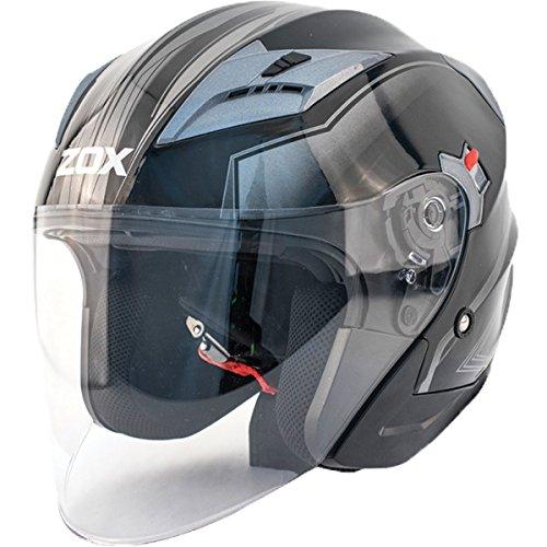 (Zox Journey Trip Adult Street Motorcycle Helmet - Glossy Silver/Medium)