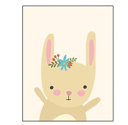 Woodland Letti Per Bambini.Baby Nursery Wall Art Canvas Poster Cartoon Woodland Animal Print