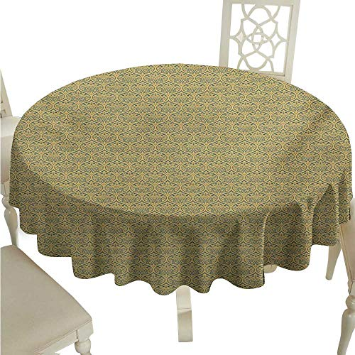 Round Tablecloth for Wedding Black Vintage,Ancient Byzantine Ornament with Curves and Flowers Classical Rococo Art Motifs,Gold and Grey D70,for Accent Table