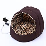 Pawhut Hooded Indoor Electric Heated Round Dog Pet Bed - Brown