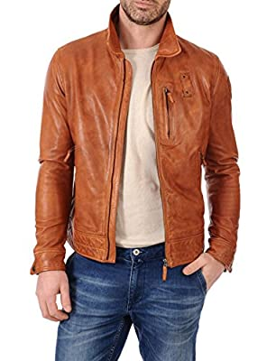 Mens Leather Jackets Motorcycle Biker Bomber Tan Real Leather Jackets Men