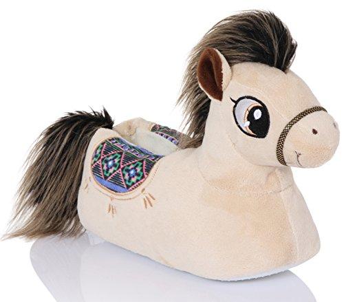Snuggles Clothing, Damen Kuschelig Neuheit 3D Animal Pantoffeln - Polly Pony, 7-8 UK / Large