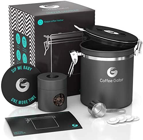 Coffee Gator Stainless Steel Container - Fresher Beans and Grounds for Longer - Canister with Date Tracker, CO2-Release Valve, Measuring Scoop and Travel Jar - Medium - Gray