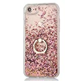 Liquid Hard Case with 2 in 1 Stylus for iPhone 7/8 4.7 inch,Creative 3D Quicksand Diamond Floating Crystal Clear Glitter Plastic Back Cover with 360 Rotating Ring Stand Holder - Rose Gold