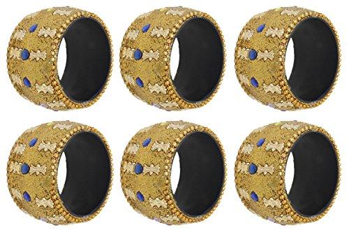 SKAVIJ Handmade Yellow Napkin Rings Set of 6 for Weddings Dinner Parties or Every Day Use by SKAVIJ