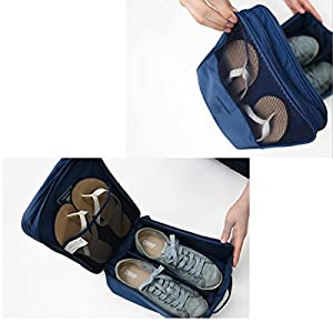 Travel Shoe Bags Portable Waterproof Shoe Toe Storage Organizer Bag Shoe Case Pouch Holder 3 Pairs of Shoes (Navy Blue)