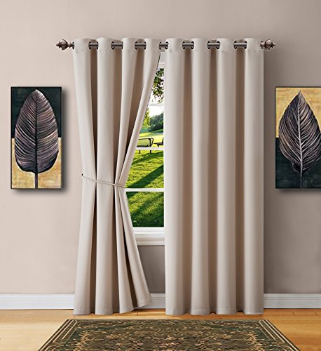 Warm Home Designs 1 Panel of Ivory Blackout Curtains with Grommets. Insulated Thermal Window Panel Is 54