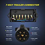 Nilight Heavy Duty 7 Way Inline Trailer Plug with 7 Gang Junction Box - 8 Feet, Trailer Connector Cable Wiring Harness with Weatherproof Junction Box Suitable for RV Automotives Cars,2 Years Warranty