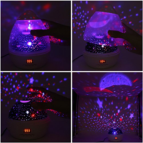 [ Newest Vision ] Star Light Rotating Projector, MOKOQI Night Lighting Star Moon Projection Lamp 4 LED Bulbs 4 Modes with Timer Auto Shut-Off & Hanging Strap for Kids Baby Bedroom (Black) by MOKOQI (Image #5)