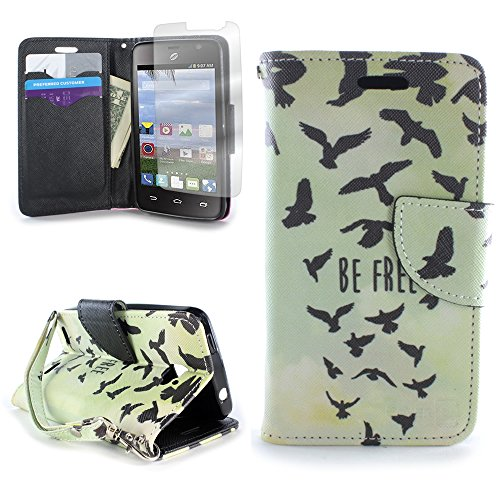 CoverON for ZTE Zephyr / Paragon Wallet Case [CarryAll Series] Flip Credit Card Phone Design Pouch (Free Bird)- with Clear Screen Protector & Wristlet Strap