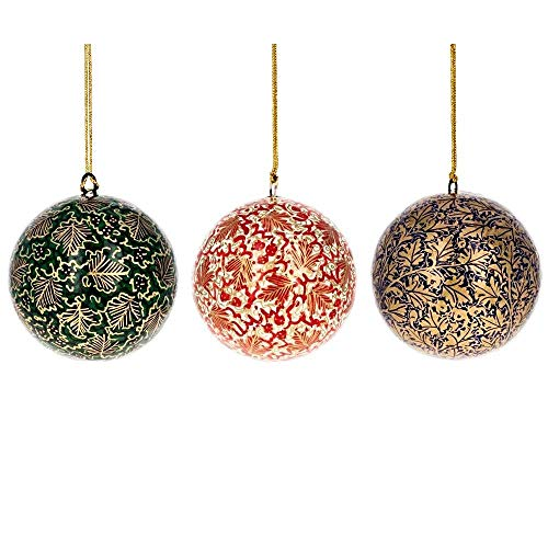 BestPysanky Set of 3 Golden Leaves Wooden Christmas Ball ()