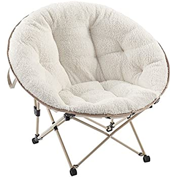 White Sherpa Oversized Saucer Chair For Adults