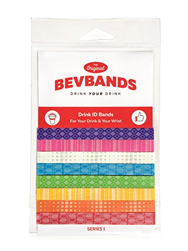 (BevBands set of 8 Drink Markers an Everyday Alternative to Wine Charms, Series 1 Rainbow)