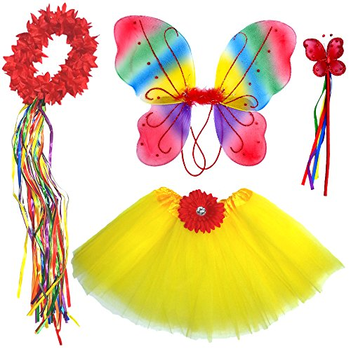 Enchantly Girls Fairy Costume Dress Up - in Red and Yellow with Wand, Halo and Wings -