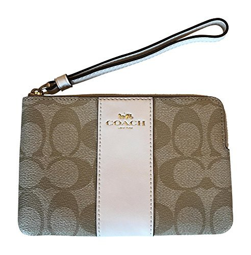 Coach Wristlet - Coach Signature PVC Leather Corner Zip Wristlet, Light Khaki, Chalk
