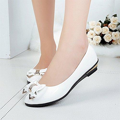 À Fami Printemps Toe Blanc Lacets Talon Plates Plat Chaussures Mode Femmes dwXrFwq