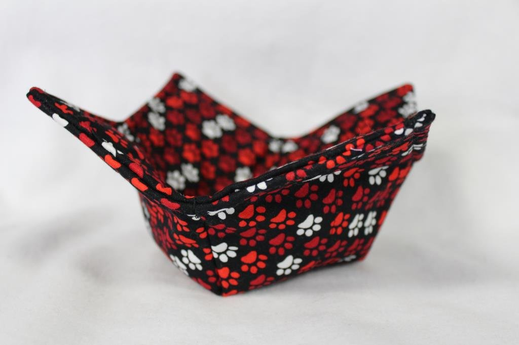 Microwave Bowl Cozy Bowl Potholder Reversible Red White Paw Print