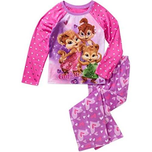 The Chipettes Big Girls Fleece Pant Pajama Set (10/12)