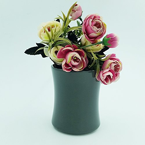 Better-way High Waist Planter Round Ceramic Succulent Pot Windowsill Planter Decoration Orchid Flower Container Gift for Housewarming (4.5 Inch, Grey) (High Waist Stand)