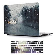 Macbook Air 13 inch Case,iCasso Rubber Coated Glossy Hard Shell Plastic Protective Case Cover for Apple Laptop Macbook Air 13 Inch Model A1369/A1466 With Keyboard Cover (Raining Scene)