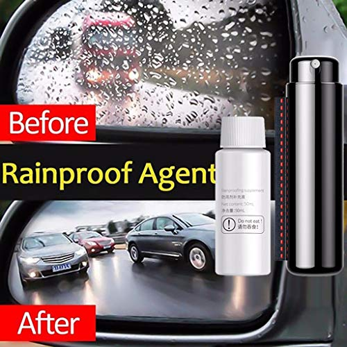 Car Anti Rain Agent, Jessie storee Car Rainproof Agent with Microfiber Cloth Nano Glass Hydrophobic Coating Anti-Rain Spray for Car Front Windshield Rear-View Mirror (Black, 0.5 fl. oz + 1.69 fl. oz)