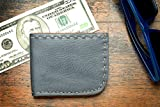Man's wallet gray leather hand sewn thin bifold hand cut waxed and oiled vegetable tanned buffalo leather with snap closure.