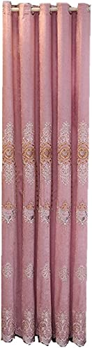 Luxury Embroidered Curtain Grommet Blackout Drapes 84 inch Length Room Darkening Thermal Insulated European Style Floral Chenille Jacquard Window Treatments for Living Room 1 Panel Pink W52 x L84 inch